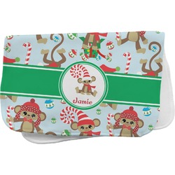 Christmas Monkeys Burp Cloth (Personalized)