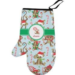 Christmas Monkeys Left Oven Mitt (Personalized)