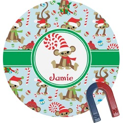 Christmas Monkeys Round Magnet (Personalized)