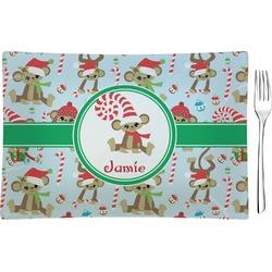 Christmas Monkeys Glass Rectangular Appetizer / Dessert Plate - Single or Set (Personalized)