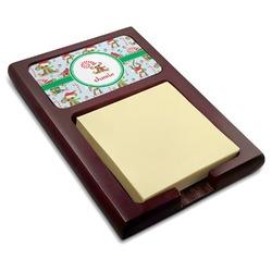 Christmas Monkeys Red Mahogany Sticky Note Holder (Personalized)