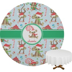 Christmas Monkeys Round Tablecloth (Personalized)