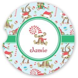 Christmas Monkeys Sandstone Car Coasters (Personalized)