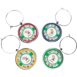 Christmas Monkeys Wine Charms (Set of 4) (Personalized)
