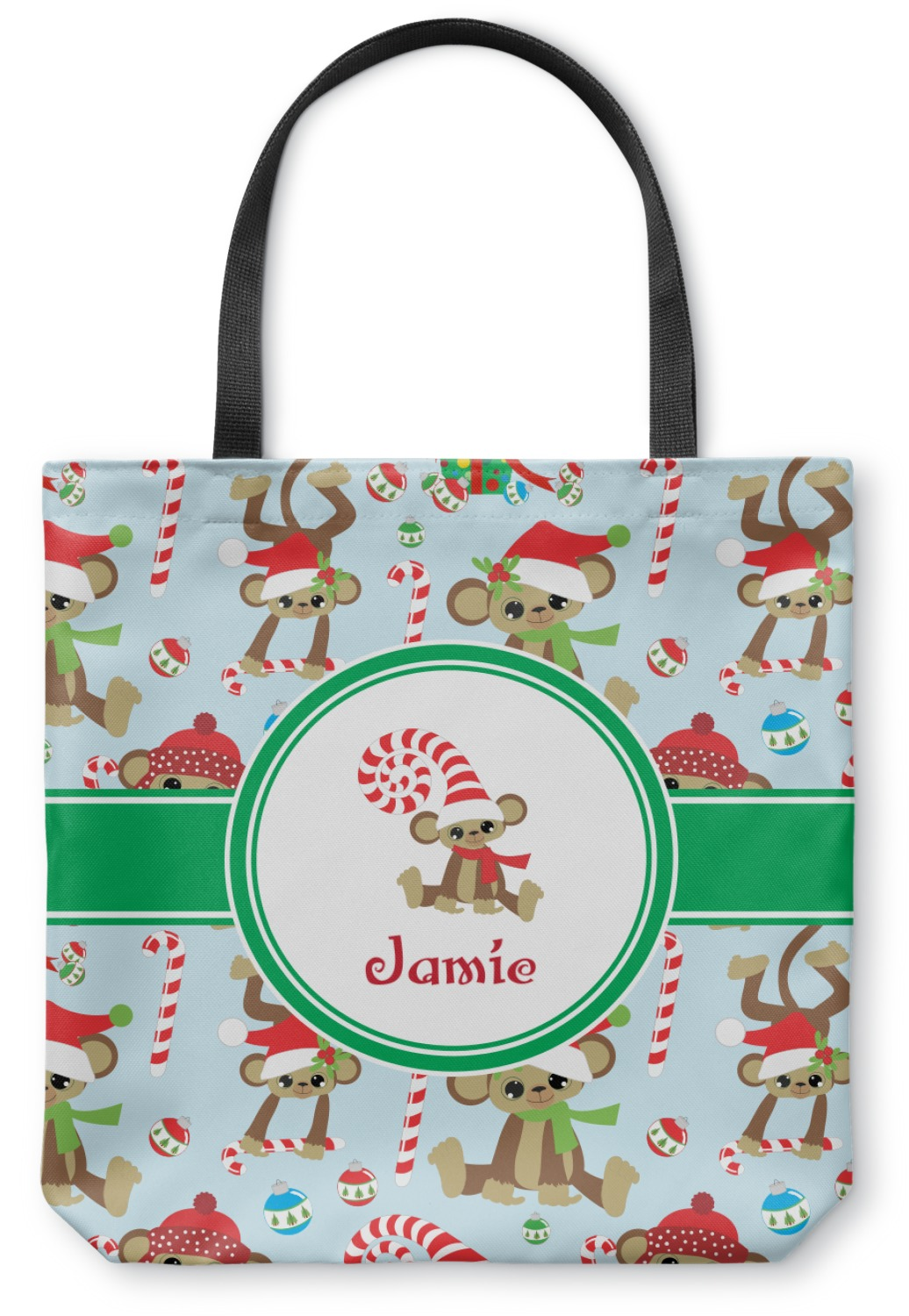 Christmas monkeys canvas tote bag small quot x