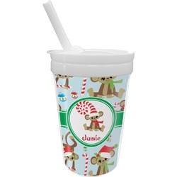 Christmas Monkeys Sippy Cup with Straw (Personalized)