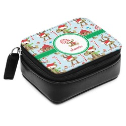 Christmas Monkeys Small Leatherette Travel Pill Case (Personalized)