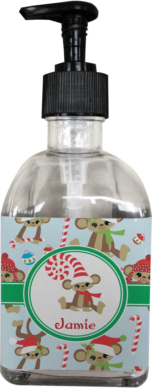christmas monkeys soaplotion dispenser glass personalized