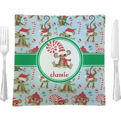 Christmas Monkeys Glass Square Lunch / Dinner Plate 9.5