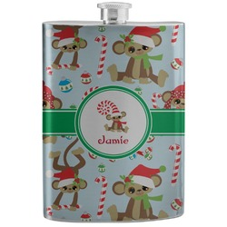 Christmas Monkeys Stainless Steel Flask (Personalized)