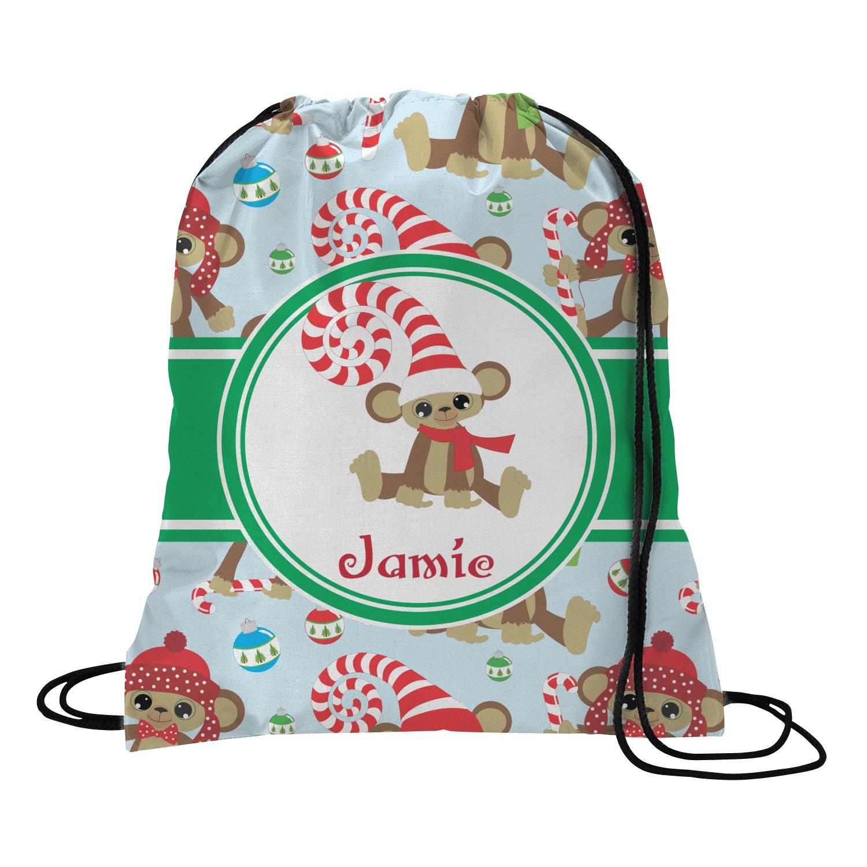Christmas monkeys drawstring backpack personalized