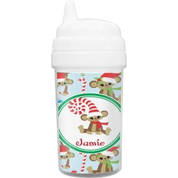 Christmas Monkeys Toddler Sippy Cup (Personalized)
