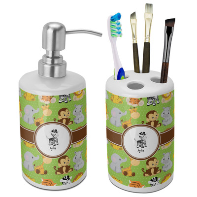 Safari Ceramic Bathroom Accessories Set (Personalized)