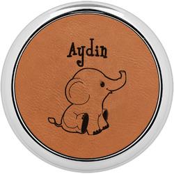Safari Leatherette Round Coaster w/ Silver Edge - Single or Set (Personalized)