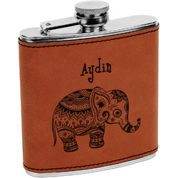 Safari Leatherette Wrapped Stainless Steel Flask (Personalized)
