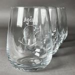 Safari Stemless Wine Glasses (Set of 4) (Personalized)