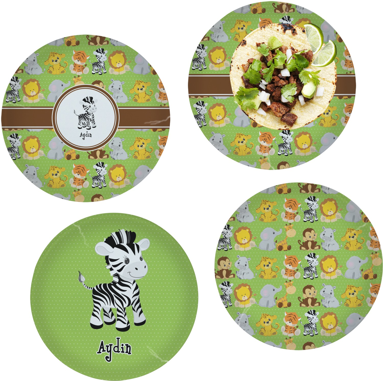 Safari Set of 4 Lunch / Dinner Plates (Glass) (Personalized)  sc 1 st  YouCustomizeIt : personalized dinner plates - pezcame.com