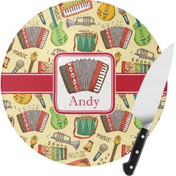Vintage Musical Instruments Round Glass Cutting Board - Small (Personalized)