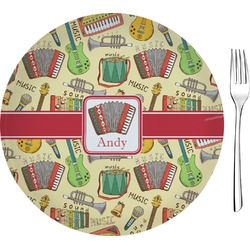 """Vintage Musical Instruments Glass Appetizer / Dessert Plate 8"""" (Personalized)"""