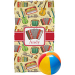 Vintage Musical Instruments Beach Towel (Personalized)