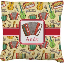 Vintage Musical Instruments Faux-Linen Throw Pillow (Personalized)