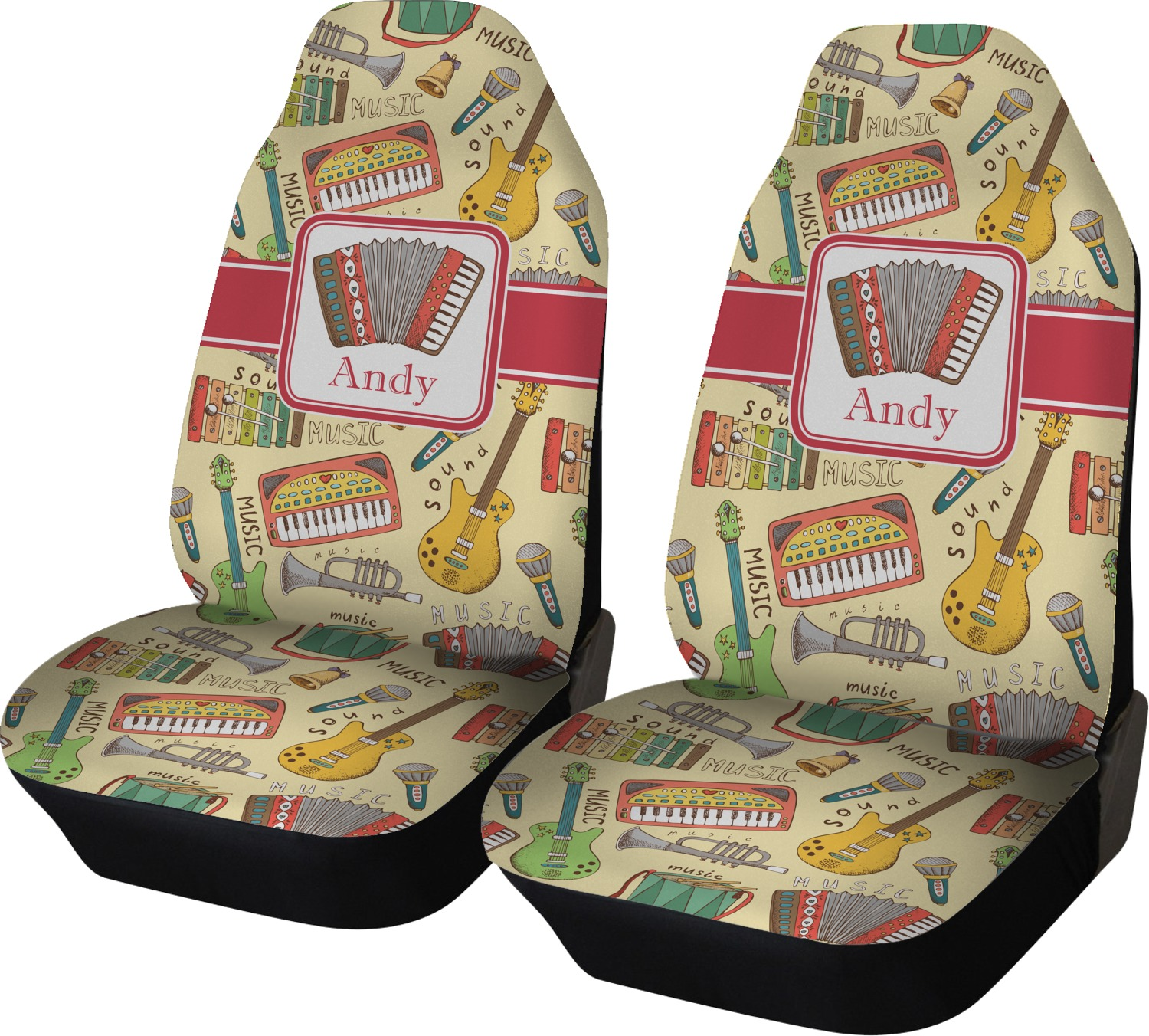 Vintage Musical Instruments Car Seat Covers Set Of Two
