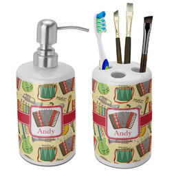 Vintage Musical Instruments Ceramic Bathroom Accessories Set (Personalized)