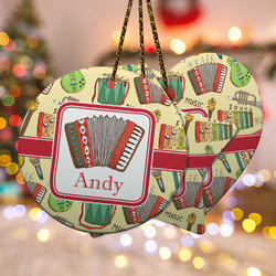 Vintage Musical Instruments Ceramic Ornament w/ Name or Text