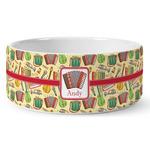 Vintage Musical Instruments Ceramic Dog Bowl (Personalized)