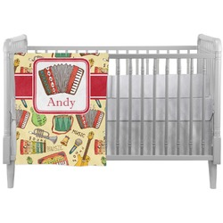 Vintage Musical Instruments Crib Comforter / Quilt (Personalized)