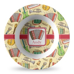 Vintage Musical Instruments Plastic Bowl - Microwave Safe - Composite Polymer (Personalized)
