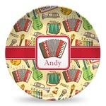 Vintage Musical Instruments Microwave Safe Plastic Plate - Composite Polymer (Personalized)