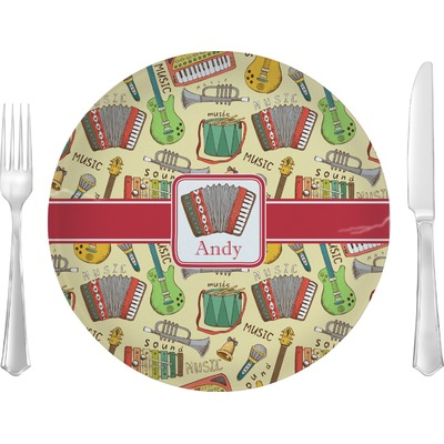 """Vintage Musical Instruments 10"""" Glass Lunch / Dinner Plates - Single or Set (Personalized)"""