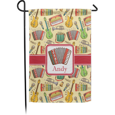 Vintage Musical Instruments Single Sided Garden Flag With Pole (Personalized)