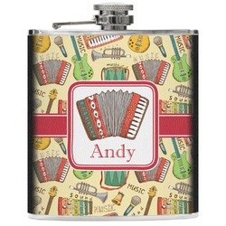 Vintage Musical Instruments Genuine Leather Flask (Personalized)