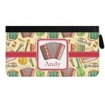 Vintage Musical Instruments Genuine Leather Ladies Zippered Wallet (Personalized)