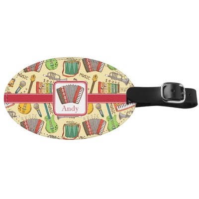 Vintage Musical Instruments Genuine Leather Oval Luggage Tag (Personalized)