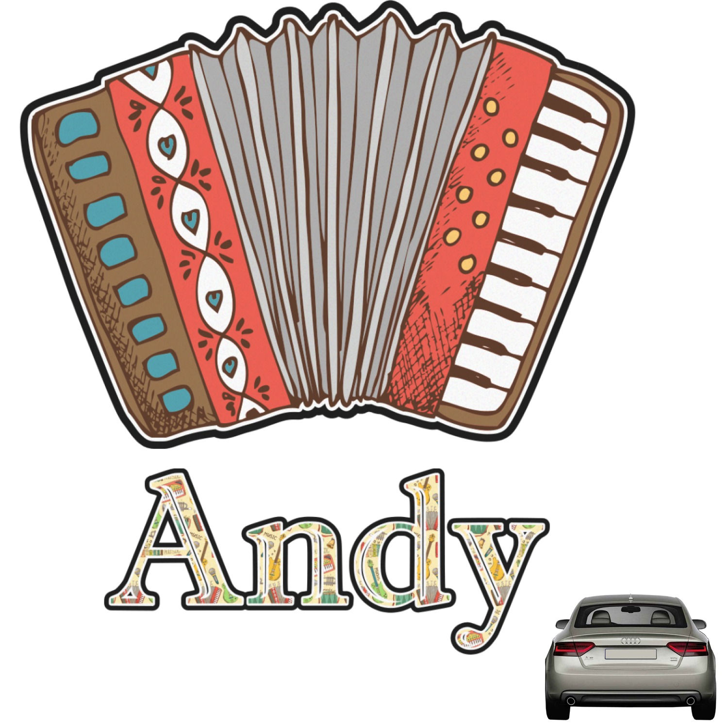 Vintage Musical Instruments Graphic Car Decal Personalized You - Custom car decals india   how to personalize