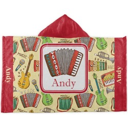 Vintage Musical Instruments Kids Hooded Towel (Personalized)