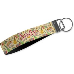 Vintage Musical Instruments Wristlet Webbing Keychain Fob (Personalized)