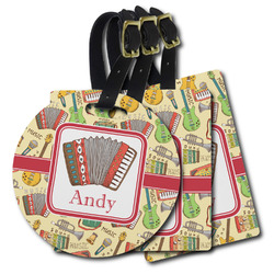 Vintage Musical Instruments Plastic Luggage Tags (Personalized)