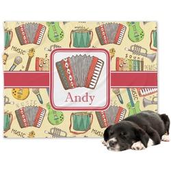 Vintage Musical Instruments Minky Dog Blanket (Personalized)