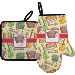 Vintage Musical Instruments Oven Mitt & Pot Holder (Personalized)