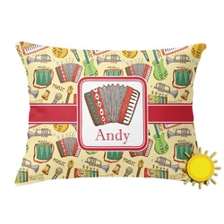Vintage Musical Instruments Outdoor Throw Pillow (Rectangular) (Personalized)