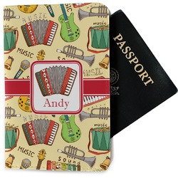 Vintage Musical Instruments Passport Holder - Fabric (Personalized)