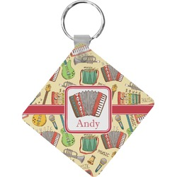 Vintage Musical Instruments Diamond Key Chain (Personalized)