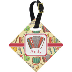Vintage Musical Instruments Diamond Luggage Tag (Personalized)