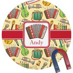 Vintage Musical Instruments Round Fridge Magnet (Personalized)