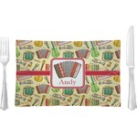 Vintage Musical Instruments Glass Rectangular Lunch / Dinner Plate - Single or Set (Personalized)