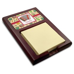 Vintage Musical Instruments Red Mahogany Sticky Note Holder (Personalized)